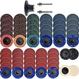 NYXCL 60Pcs 2 inch Roloc Quick Change Sanding Discs Set, 2Pcs 1/4' Holders, Die Grinder Surface Conditioning Burr Rust…