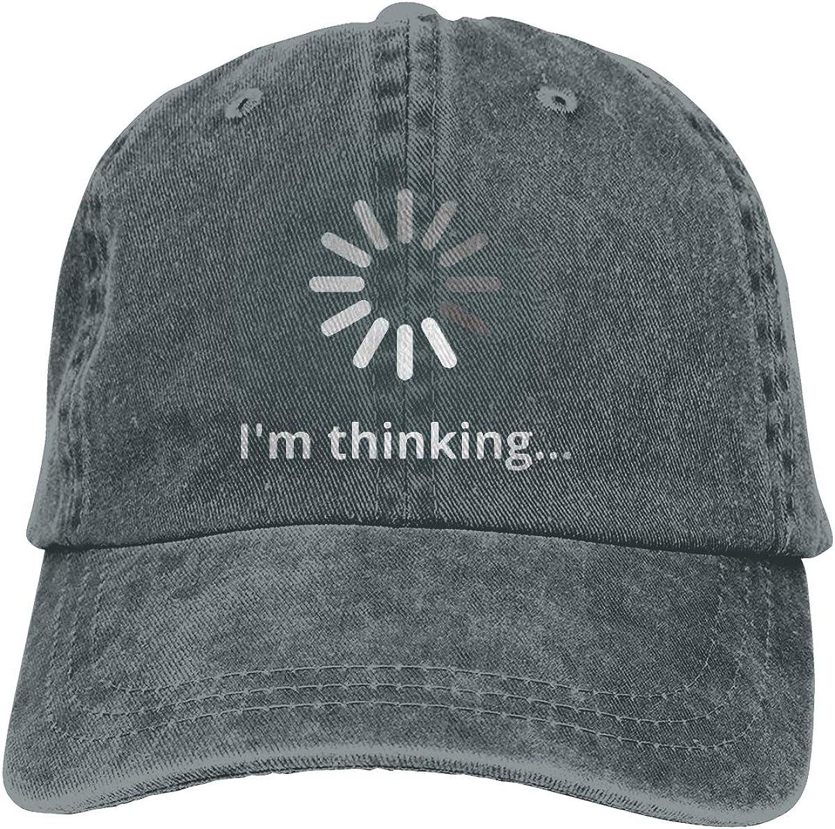 Im Thinking Unisex Baseball Cap Cotton Denim Great Adjustable Sun Hat for Men Women Youth