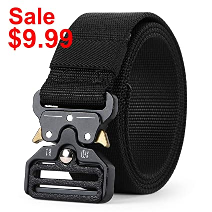 WERFORU Tactical Belt, Military Style Webbing Riggers Nylon Belt with  Heavy-Duty Quick-Release Metal Buckle 1 5