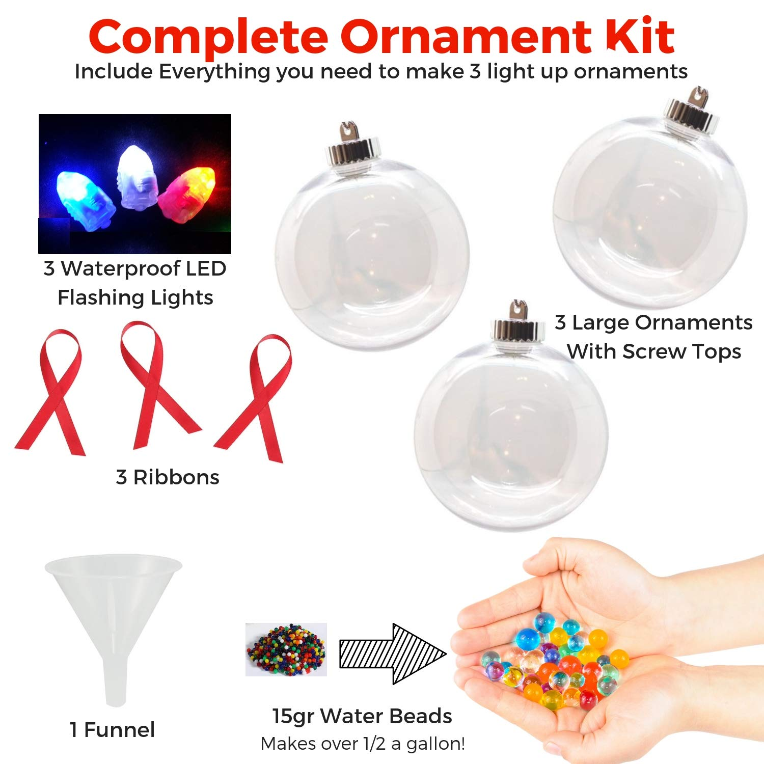 Best Kids Holiday Craft and Gift Idea for Boys /& Girls Baby Mushroom DIY Christmas Ornament Kit Make Your Own Light Up Xmas Ornaments