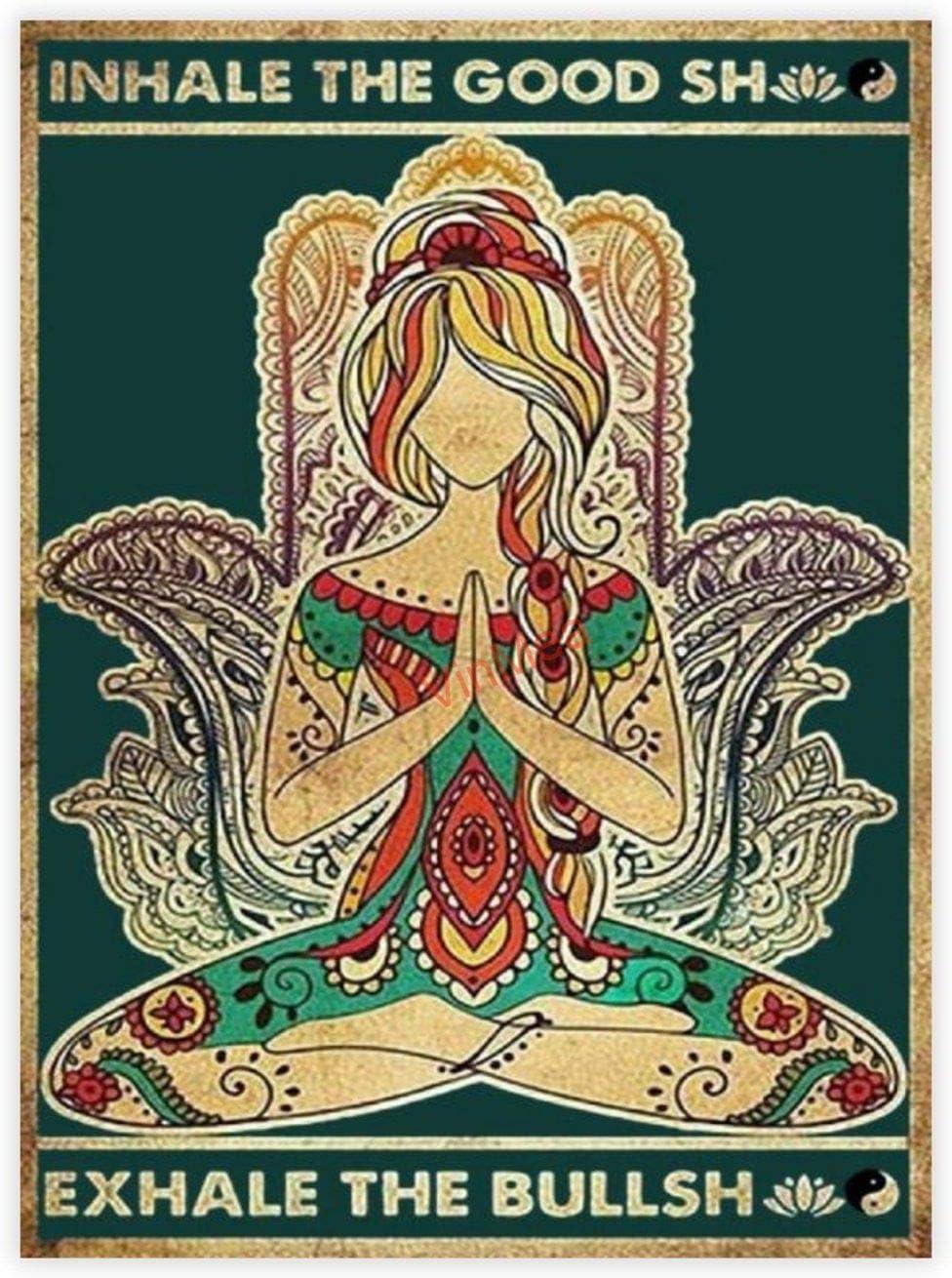 VinMea Decorative Art Printing Poster Yoga Girl Inhale The Good Shit Exhale The Bullshit Poster - Wall Art Print Home Decor 16 X 24 Inch Unframed