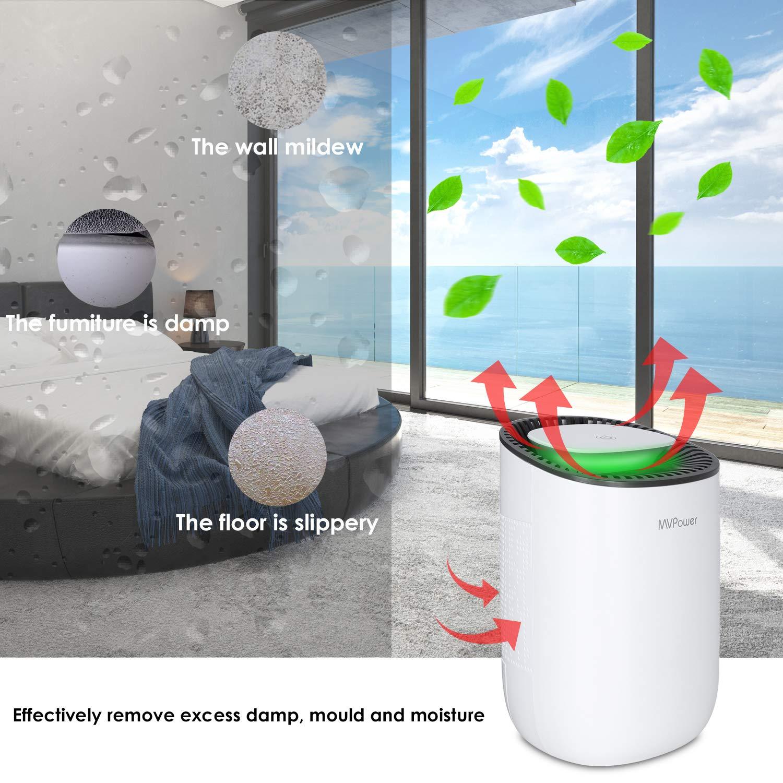 Ideal para Cocina MVPower 600ML 23 W Deshumidificador Port/átil Deshumidificaci/ón Continua con Bajo Consumo Oficina Dormitorio Ba/ño y Bodega Modo de Decibelio de Apagado Autom/ático Garaje