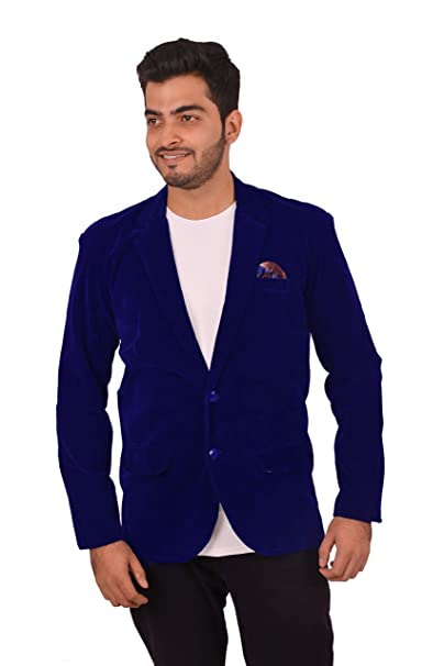 feb3f4882 Avaeta Men's Royal Blue Velvet Blazer: Amazon.in: Clothing & Accessories