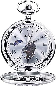 Relojes de Bolsillo Retro Suave Mecánico Skeleton Roman Numerales Antiguo Reloj de Bolsillo para Hombre con Cadena Plata: Amazon.es: Relojes