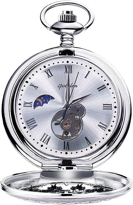 0c606b301271 Relojes de Bolsillo Retro Suave Mecánico Skeleton Roman Numerales Antiguo  Reloj de Bolsillo para Hombre con Cadena Plata