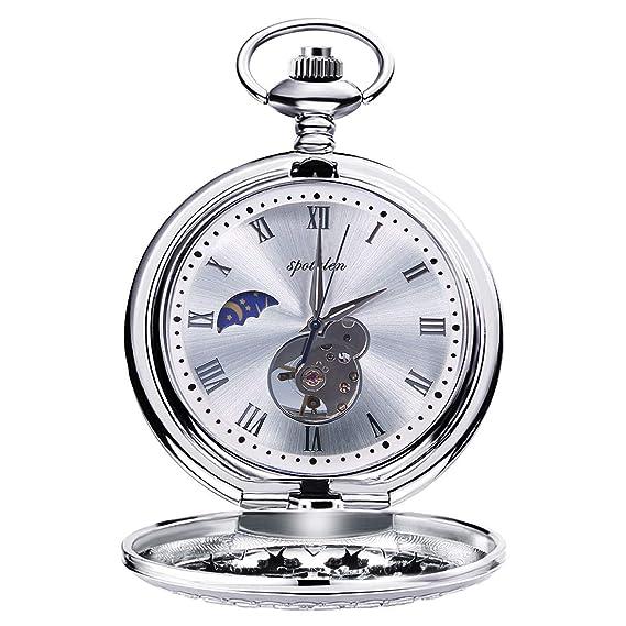 Relojes de Bolsillo Retro Suave Mecánico Skeleton Roman Numerales Antiguo Reloj de Bolsillo para Hombre con