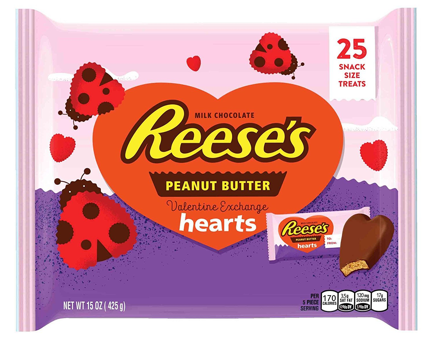 REESE'S Peanut Butter Hearts Valentine Exchange Snack Size
