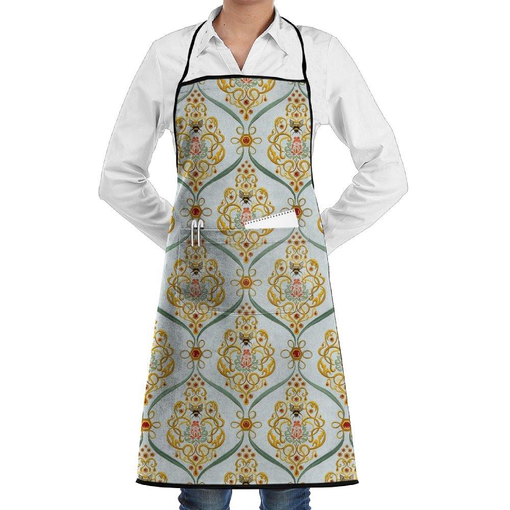 Jaylonシェフエプロンポケット付きBeeテクスチャパターン料理エプロンホームキッチン料理エプロンドレス   B07CYTR64M