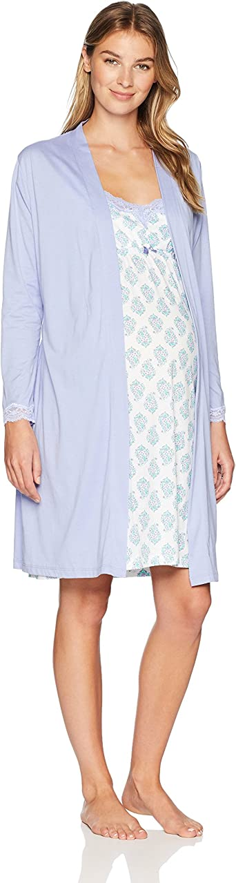 Belabumbum Women S Luxe Cotton Maternity Nursing Nightie Matching Robe Set At Amazon Women S Clothing Store