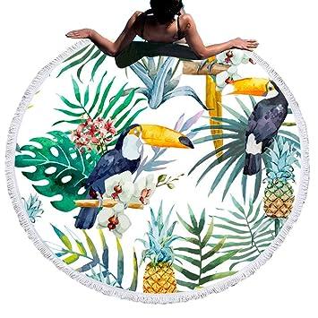 Hermoso Flamenco Oceano Animal Toalla de Playa Redonda,Esterilla de Yoga o Para Picnic,