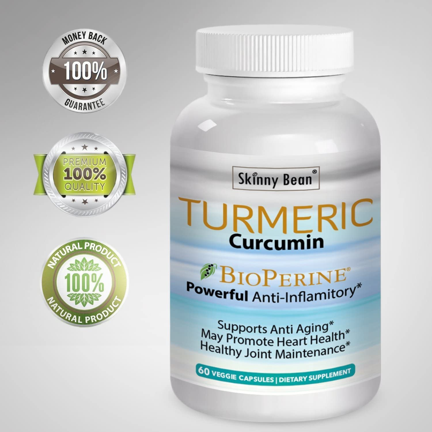 Skinny Bean Turmeric Curcumin BioPerene Pain Relief Anti Inflammatory pure ground formula capsules pills with black pepper