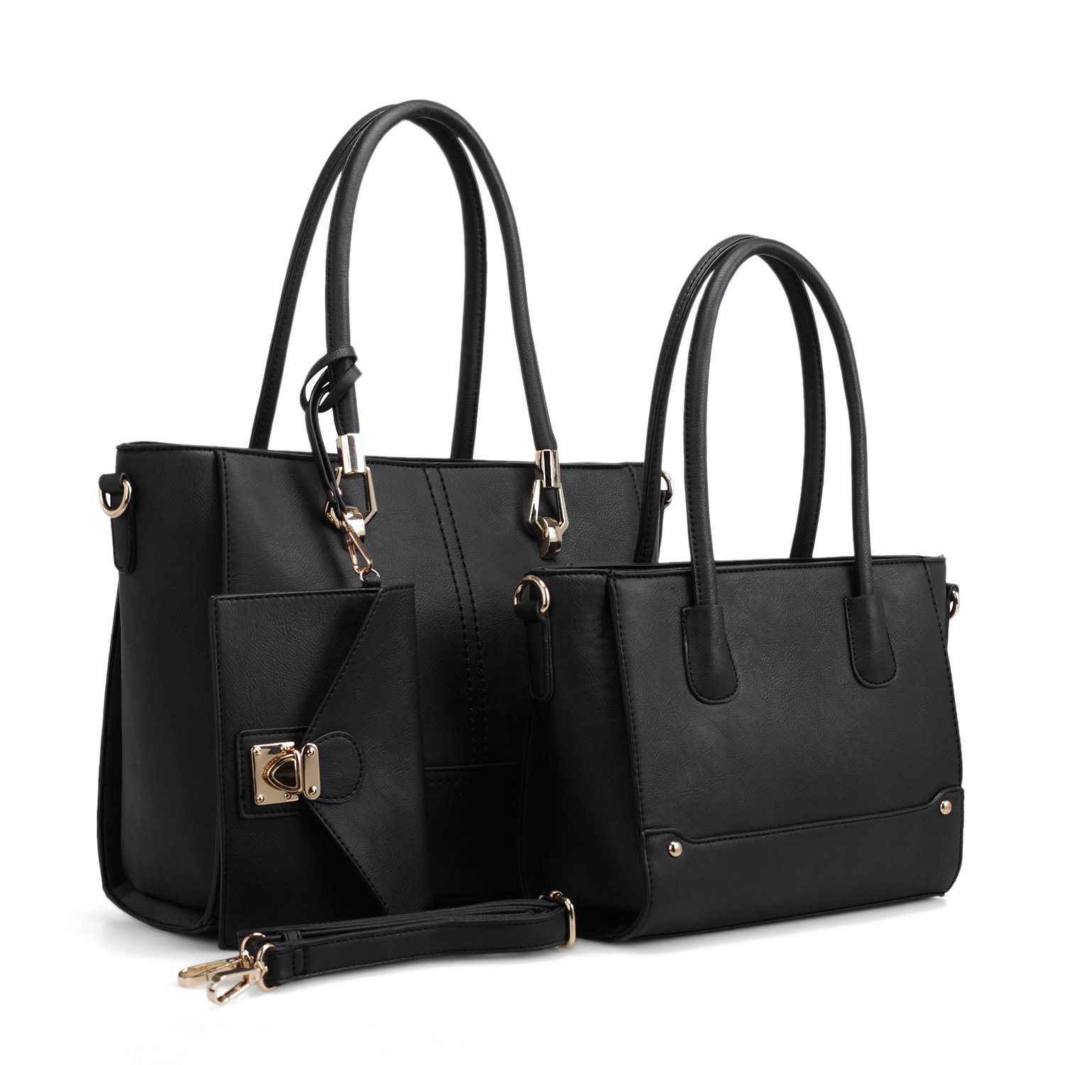 9cade12b6c149 Amazon.com: Women Handbag Set 3 Pieces Bags Real Leather Tote Small Shoulder  Purse Bags Wallet Strap: Shoes