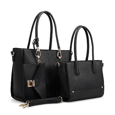 399846301ba Amazon.com: Women Handbag Set 3 Pieces Bags Real Leather Tote Small ...