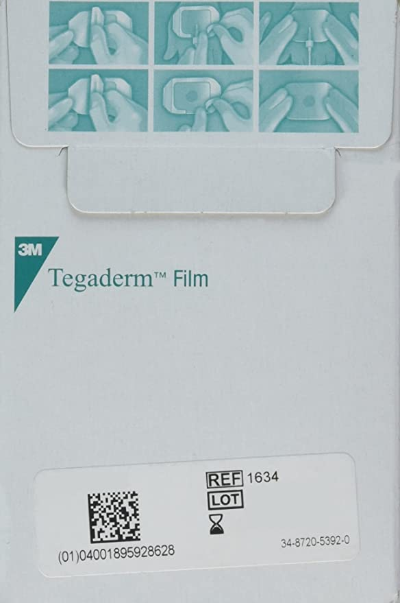 with Label 1626W Pack of 2 Box of 50 Dressings Picture Frame Style 3M Tegaderm Transparent Film Dressing 4 x 4 3//4