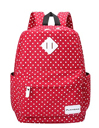 "Plambag Canvas Casual Cool Polka Dot Backpack 14"" Laptop Teenager School Bag One Size Red"