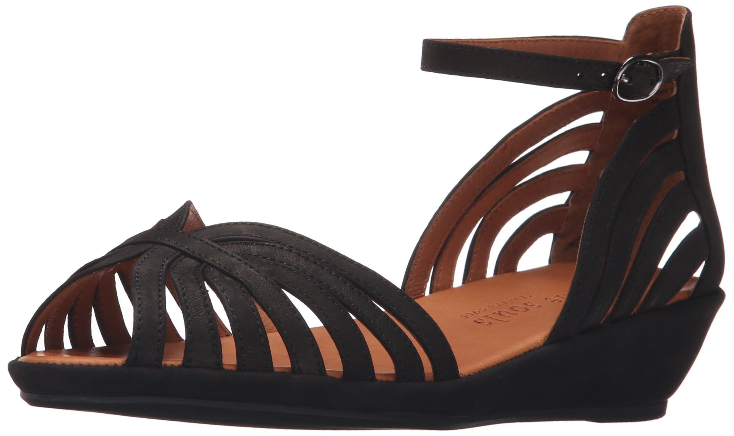 Gentle Souls Women's Leah Wedge Sandal, Black/Nubuck, 8 M US