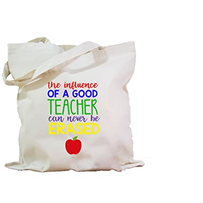 Canvas Tote Bag With Graphic The Influence Of A Good Teacher Can Never Be Erased 15x15 inches With Solid Canvas Straps new
