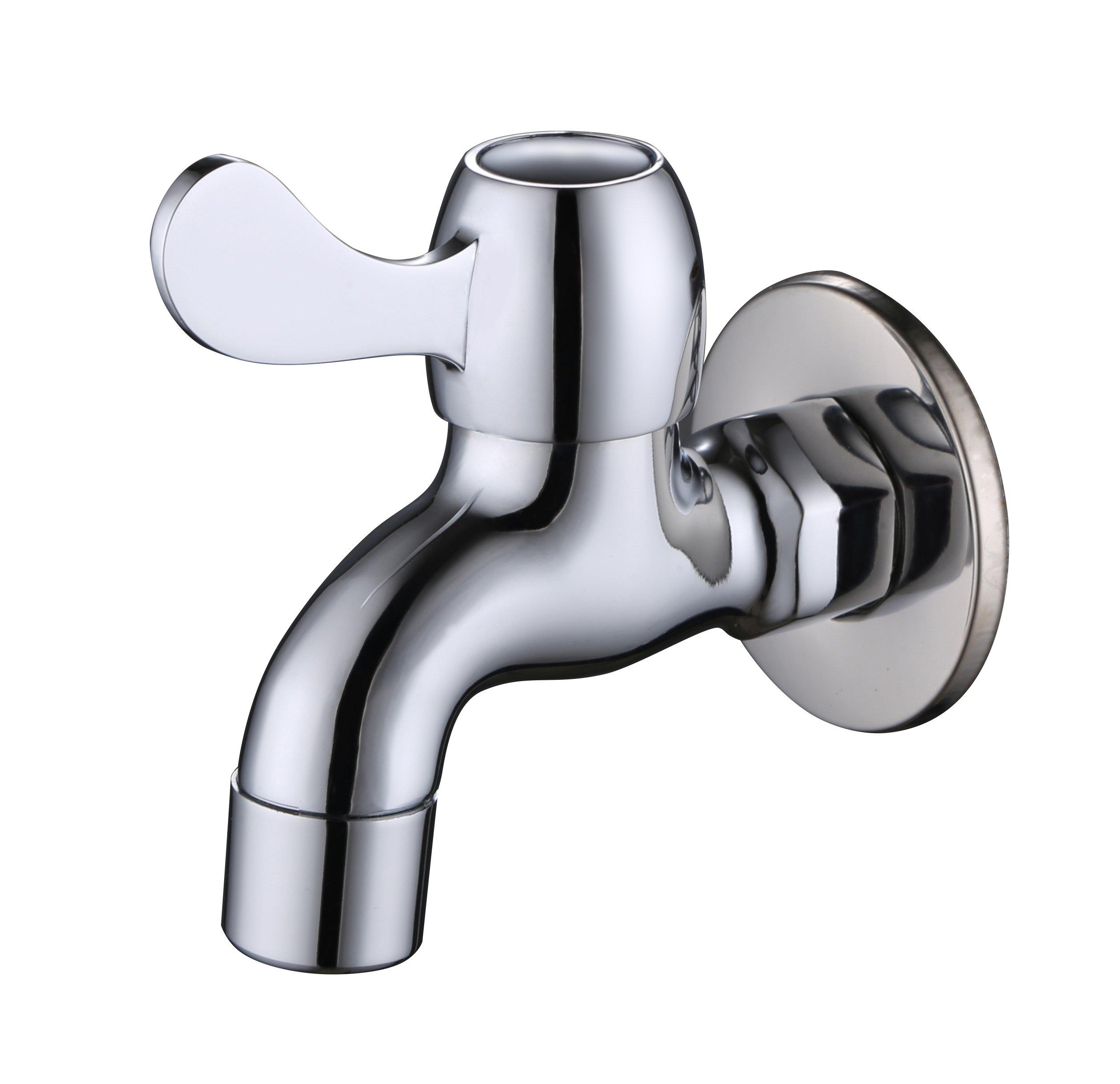 Frascio Faucet Full Copper Casting Outdoor/Garden/Washing Machine/Bath Tub Tap Faucet,Chrome (garden faucet01)