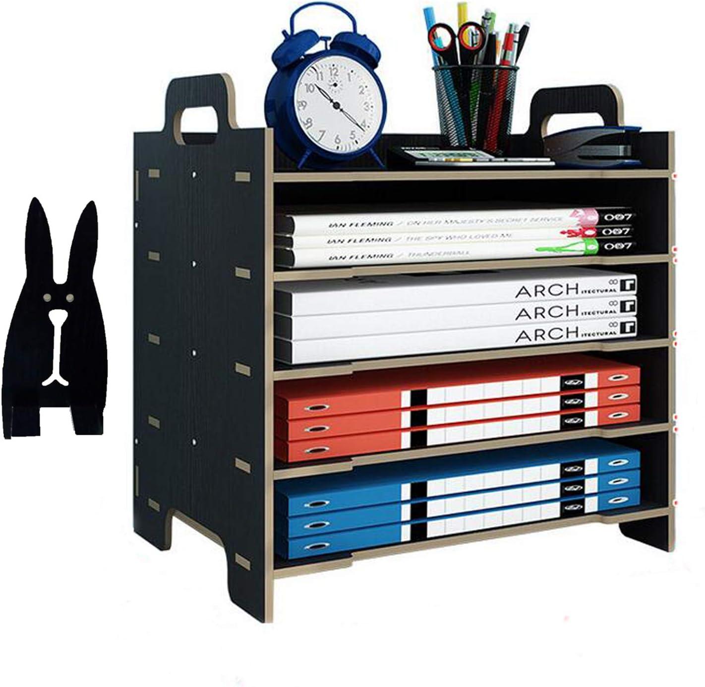 Marbrasse 5 Trays Wooden Desk File Organizer, Document Mail Paper Organizer Letter Tray Storage Shelf Sorter for Office Home Supplies (Black)