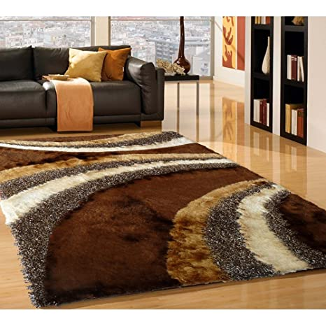 5x7 Contemporary Luxurious Brown Chocolate Carved Shag Rug
