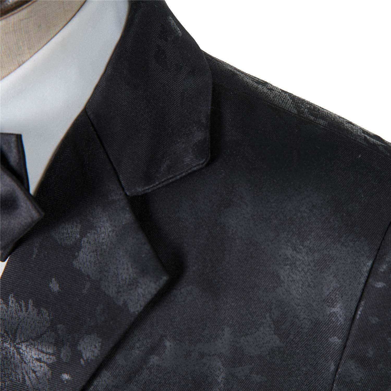 Toddler Boys 4 Piece Suits Classic Formal Black Print Kids Suit Set Wool Blend