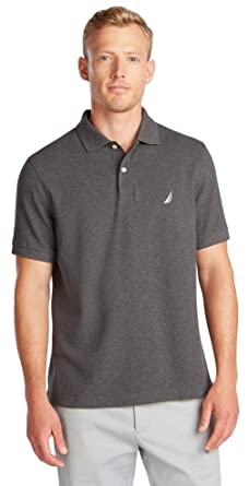 Nautica Mens Short Sleeve Solid Polo Shirt, CharcoalHtr, XL ...