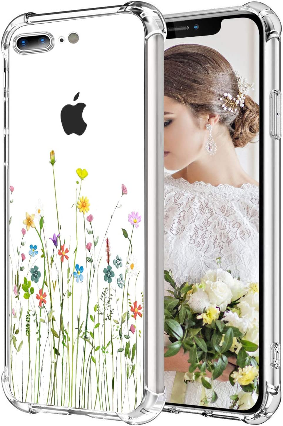 MAHYVE Case for iPhone 8 Plus, iPhone 7 Plus, Girls Crystal Clear Embossed Flower Pattern Design Soft Flexible TPU Shockproof Transparent Floral Cover, Case for iPhone 8 Plus, 7 Plus (Flower Bouquet)
