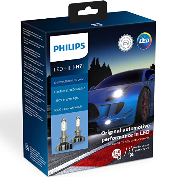 Philips 11972XUWX2 X-tremeUltinon gen2 LED faros delanteros (H7) 5.800K Set de 2: Amazon.es: Coche y moto
