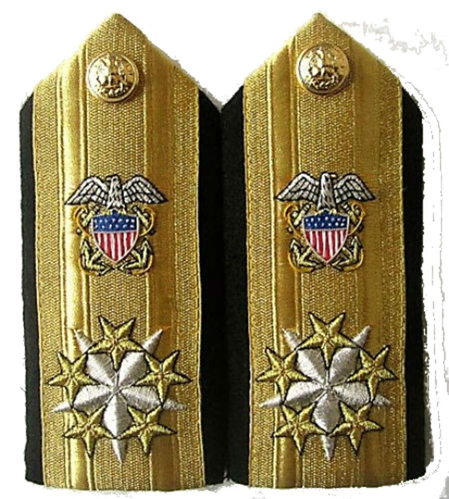 NEW US NAVY SIX STARS ADMIRAL GENERAL OF ARMIES RANK CP MADE SHOULDER BOARDS PAIR, NON ISSUED COLLECTORS ITEM, IN WAR PRESIDENT OF THE COUNTRY WEAR THIS PROPOSED DESIGN SHOULDER BOARDS