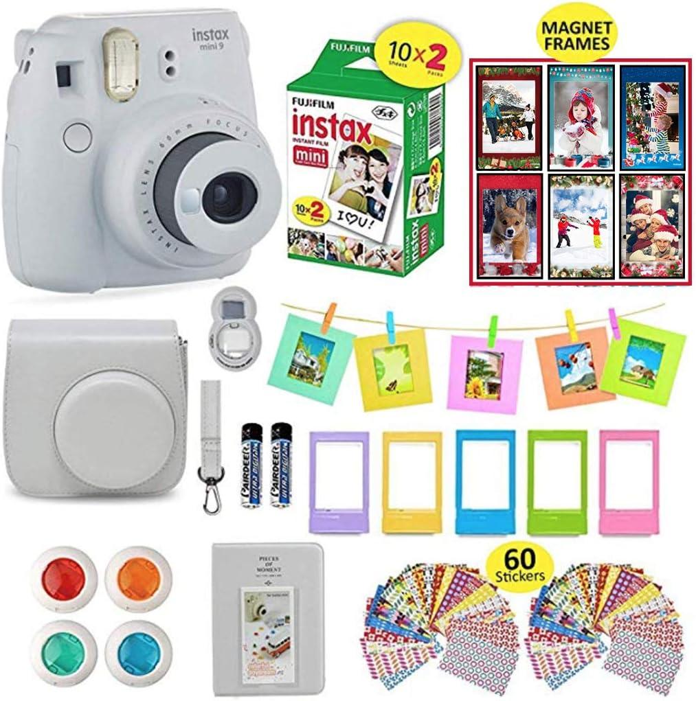 Fujifilm Instax Mini 9 Camera Smokey White Instax Camera Bundle + 20 Instant Film Sheets, Instax Case + 14 PC Instax Accessories Bundle, Fuji Instax Mini 9 Gift Kit, 2 Albums, 4 Lenses, 5 Desk Frames
