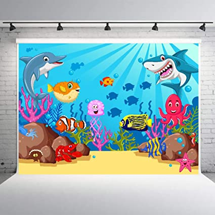 photo about Printable Backdrop called Boy or girl Shark Backdrop Birthday Banner for Boy and Lady 7x5feet Youngster Shower Bash Materials Printable Pictures Historical past Studio Props