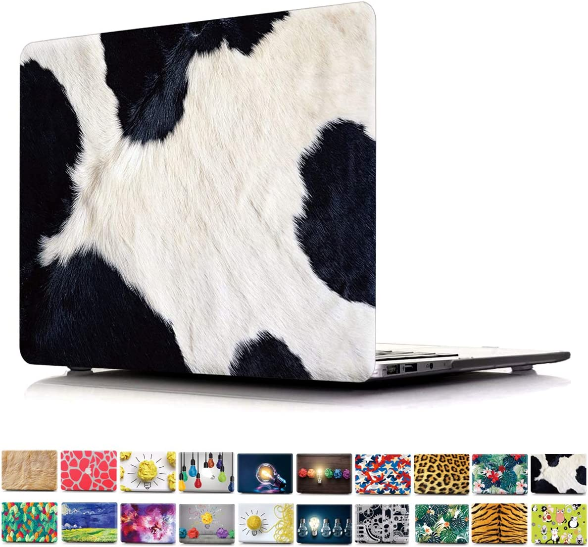 """2016/2017/2018 MacBook Pro 13 Case A1706/A1708/A1989 PapyHall Newest 2 in 1 Color Printing Plastic Shell Cover for MacBook Pro 13"""" with/Without Touch Bar Model: A1706/A1708/A1989 Cow Grain"""