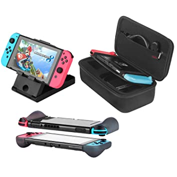 Bestico Kit de Accesorios 3 en 1 para Nintendo Switch, Incluye Funda de Transporte/Carcasa Protectora /Soporte Ajustable para Nintendo Switch