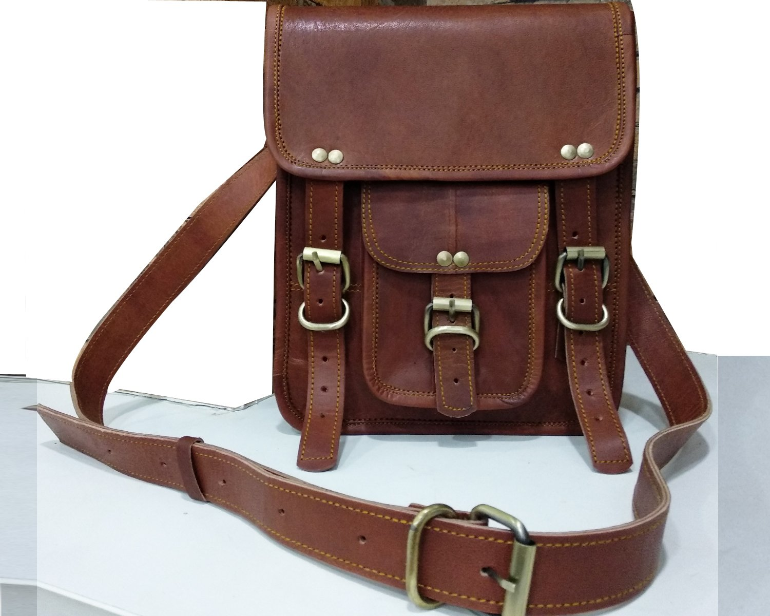 Mother's Day Gift Prime Leather Shoulder Bag Leather Messenger Bag Leather Ipad Bag satchel bag 9x11 by Fair Deal (Image #1)