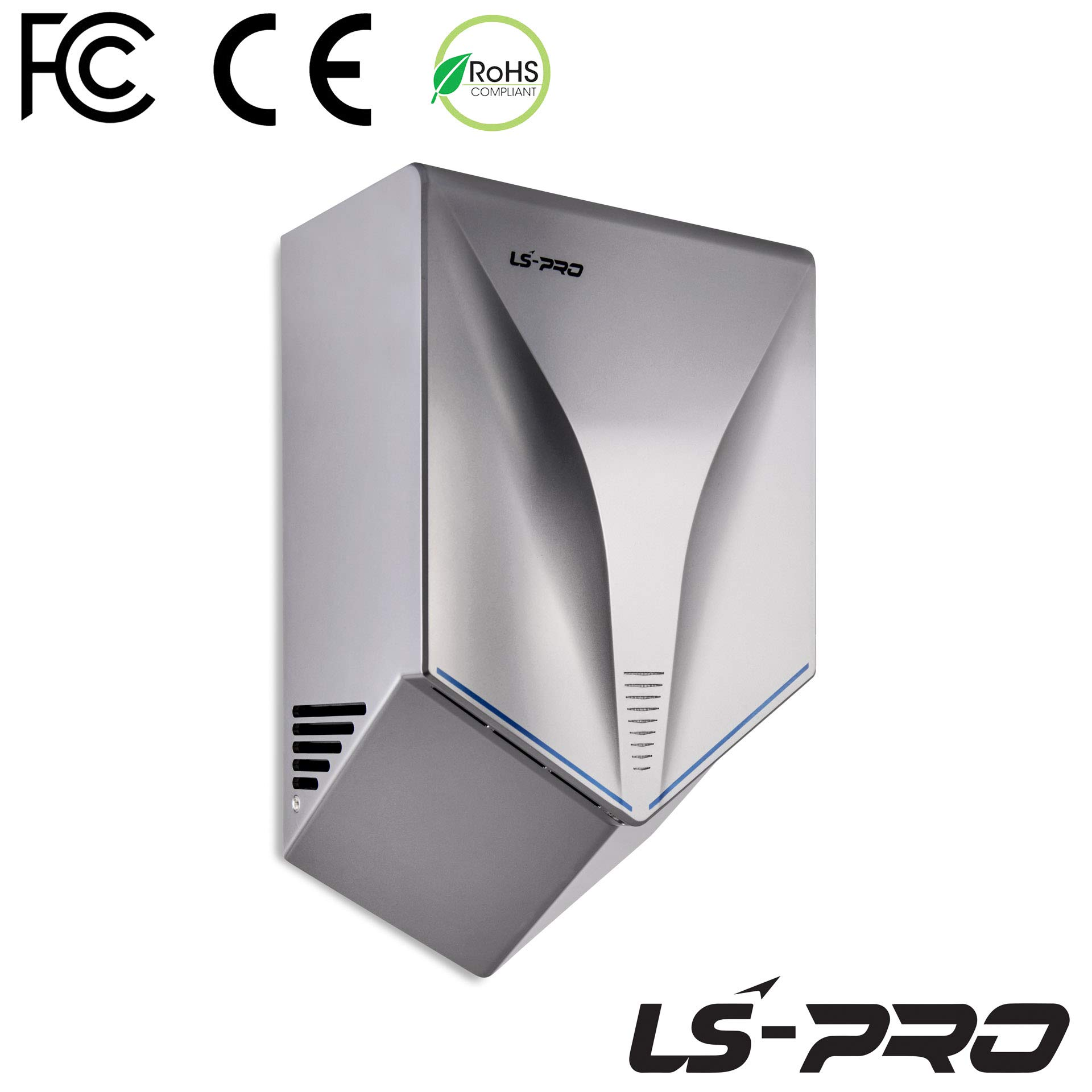 LS-PRO Automatic Hand Dryer for Commercial Bathrooms. High Speed Hot Air, Dry Hands in 7s. No Touch Operation with Infrared Sensor. Easy & Fast Installation. Low Noise 60 dB. 1 Year Warranty.