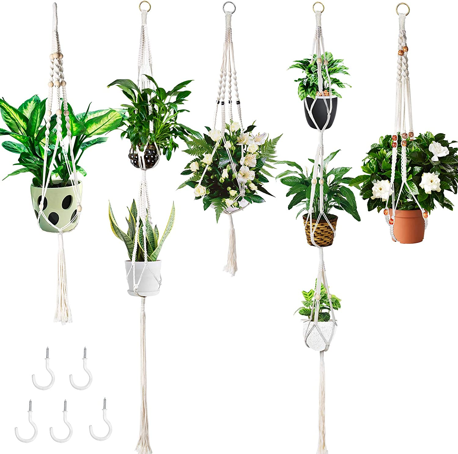 5 Packs Macrame Plant Hangers, Handmade Cotton Rope Indoor Wall Hanging Planters with 5 Hooks Set Flower Pots Holder Stand for Outdoor Boho Home Decor
