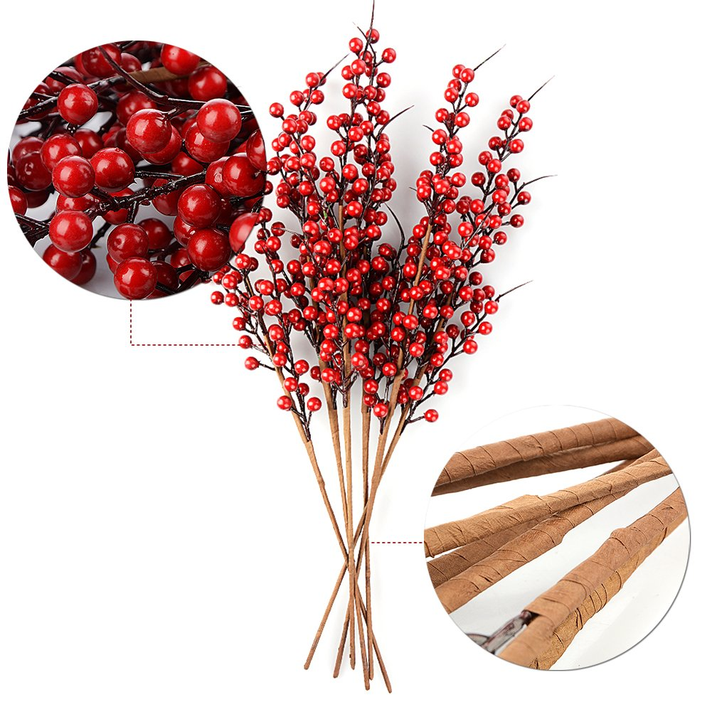 Xnferty Xnferty Artificial Berry Stems 22 Long 10 Pack Christmas Red Berries Artificial Fruit Berry Holly Flower Branch for Home Holiday Wedding Party DIY Christmas Tree Crafts Decor
