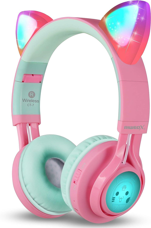 Riwbox CT-7 - Auriculares de diadema con luz LED, inalámbricos plegables sobre la oreja con micrófono y control de volumen para iPhone/iPad/Smartphones/Laptop/PC/TV Rosa&Verde