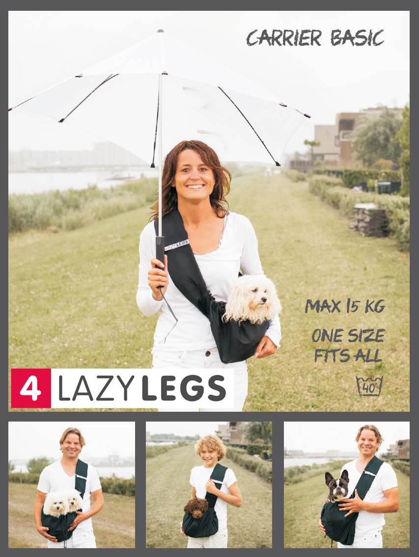 4 Lazy Legs Lightweight Pet Sling Carrier, Maximum Carrying Weight 33-Pound, Black by 4 Lazy Legs