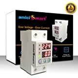 amiciSmart Automatic Over/Under Voltage (Adjustable Setting) Protection with Auto Re-Connect LED Display Standard Din-Rail Mounted Single Phase 220V, 63A (Voltage Protector)