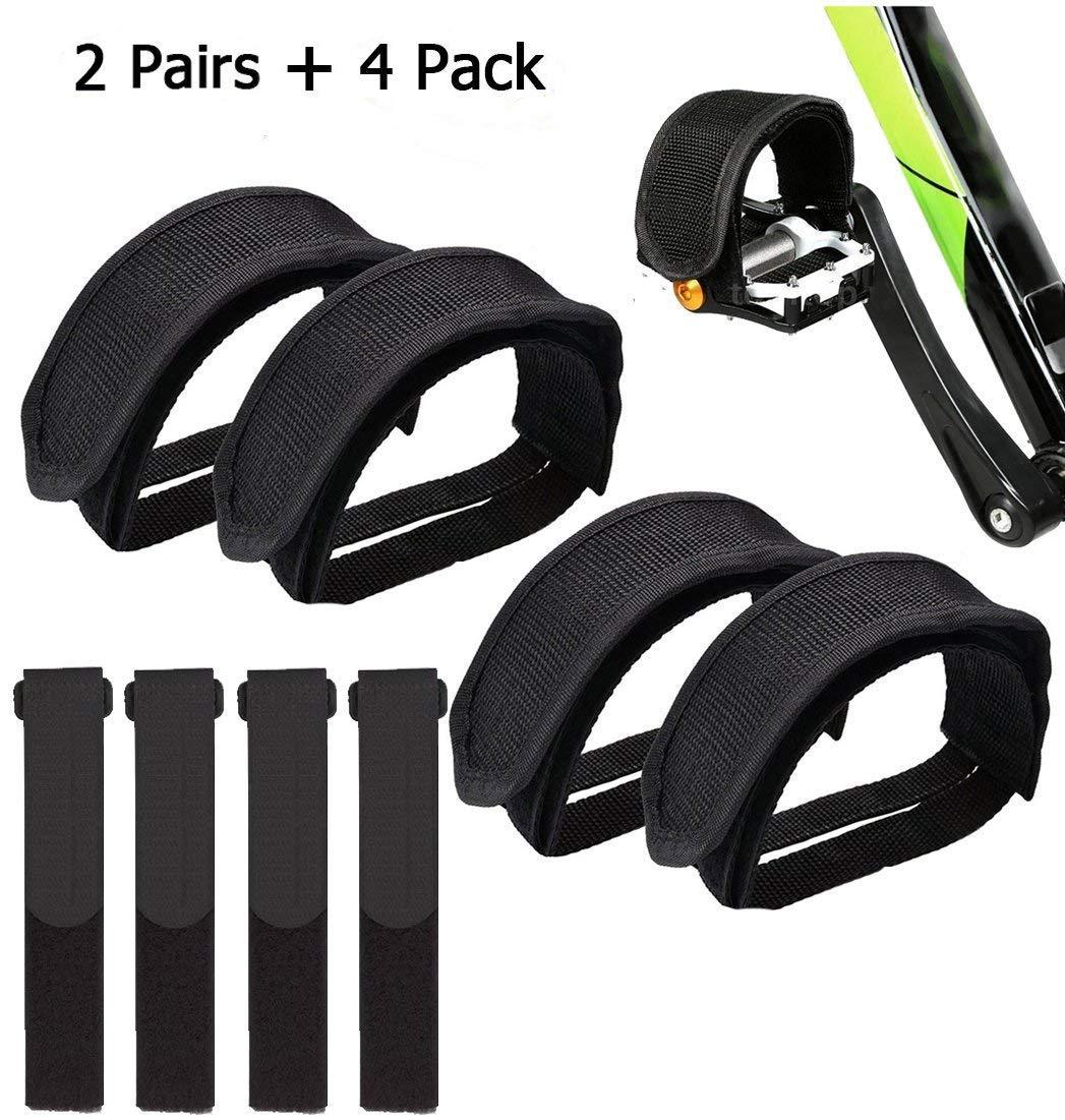 IDWAI 自転車ペダルストラップ 自転車 足ストラップ ペダルストラップ 固定ギアバイク用 4個 再利用可能な固定自転車ストラップ  ブラック B07DXFMJ2W