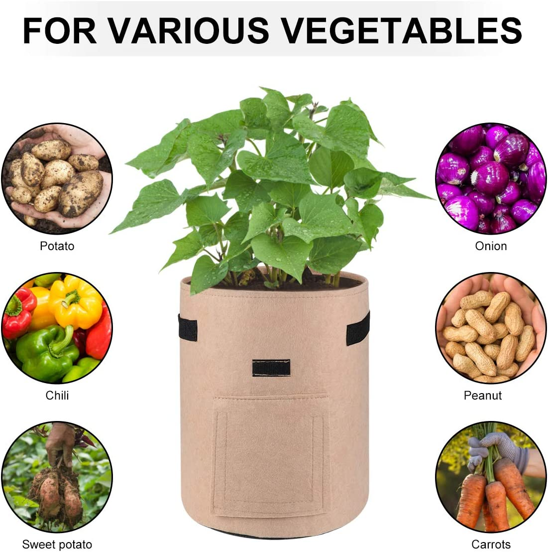 Potato Grow Bags 7 Gallon Tomato Garden Planting Bag Aeration Fabric Pot Outdoor Vegetable Growing with Handles for Planter 3 Pack Brown*1//Green*1//Grey*1