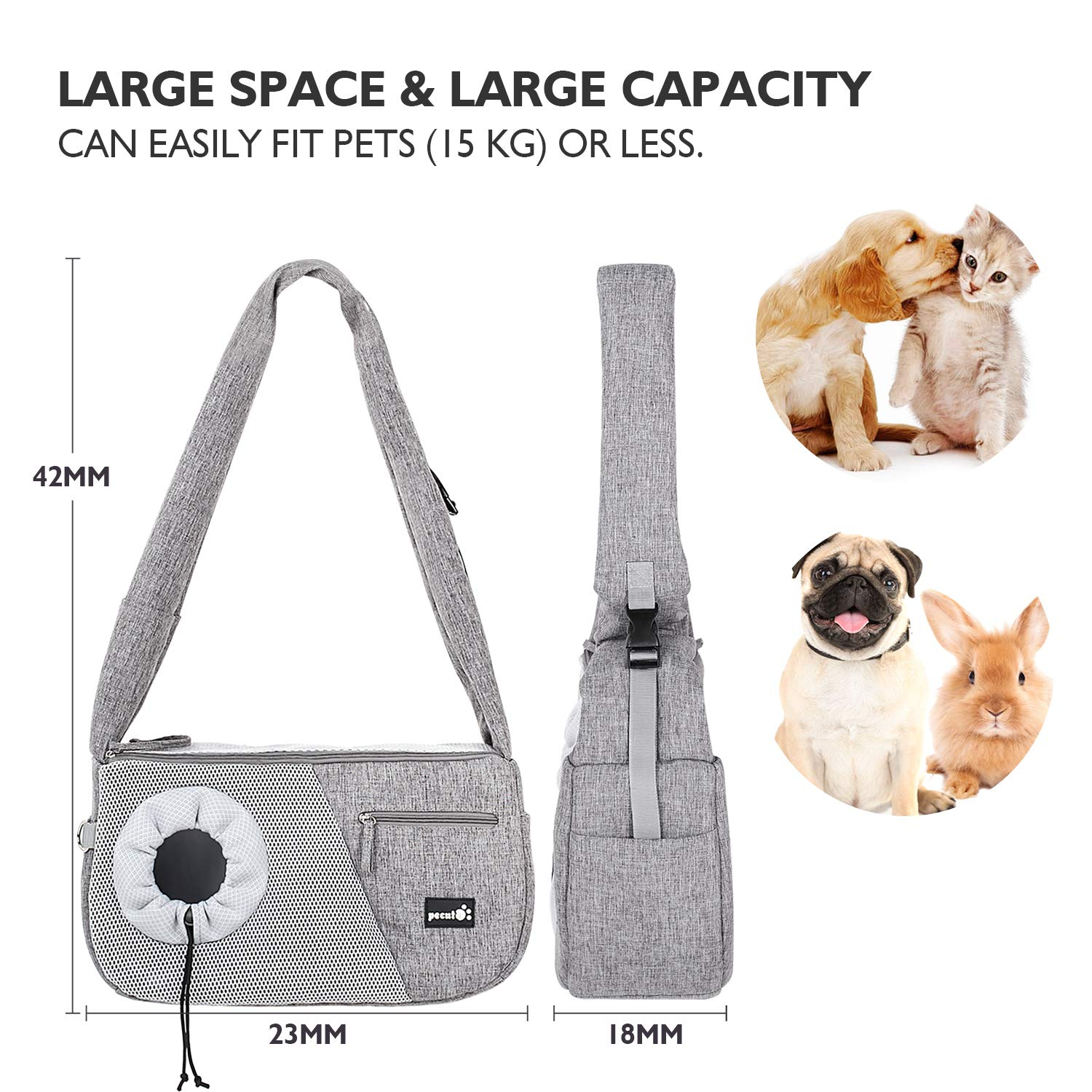 Pecute Pet Sling Bag Carrier, Small Dog Cat Carrier with Breathable Window Comfortable Decompression Hand Free Pet Puppy Outdoor Travel Bag Tote Reversible, Maximum 15kg