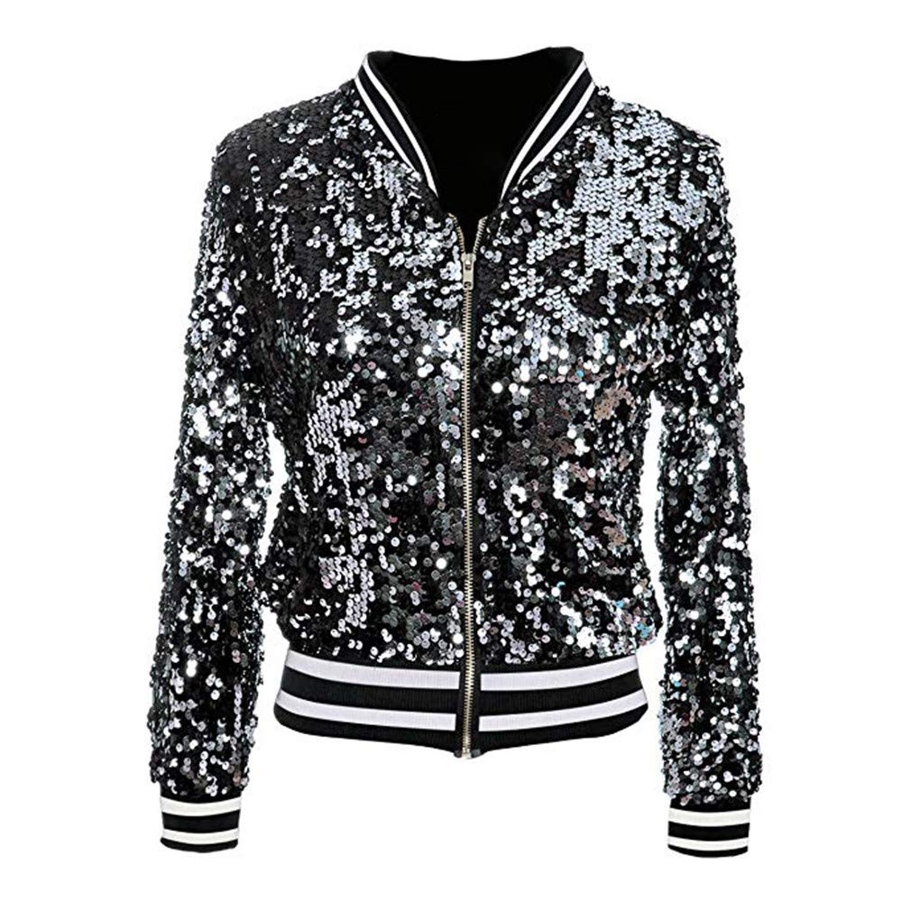 South Weekend Womens Coat Womens Fashion Sequin Long Sleeve Front Zip Jacket with Ribbed Cuffs Coats 2018