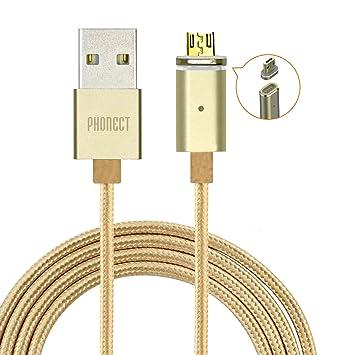 PHONECT USB Cable Magnético de Datos Micro USB Cargador de Nylon Trenzado con Adaptador Magnético de Puerto para Teléfono Inteligent de Android, ...