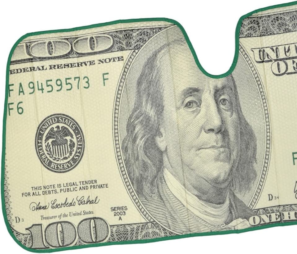 Hundred Dollar Bill Benjamin Franklin Front Windshield Sun Shade Accordion Folding Auto Sunshade for Car Truck SUV Blocks UV Rays Sun Visor Protector 58 x 28 Inch Keeps Your Vehicle Cool