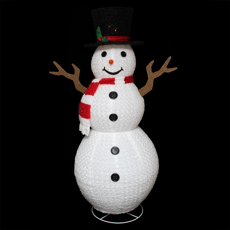 Northlight Seasonal Pre-Lit Outdoor Chenille Swirl Large Snowman w/Top Hat Christmas Yard Art Decoration, 72''