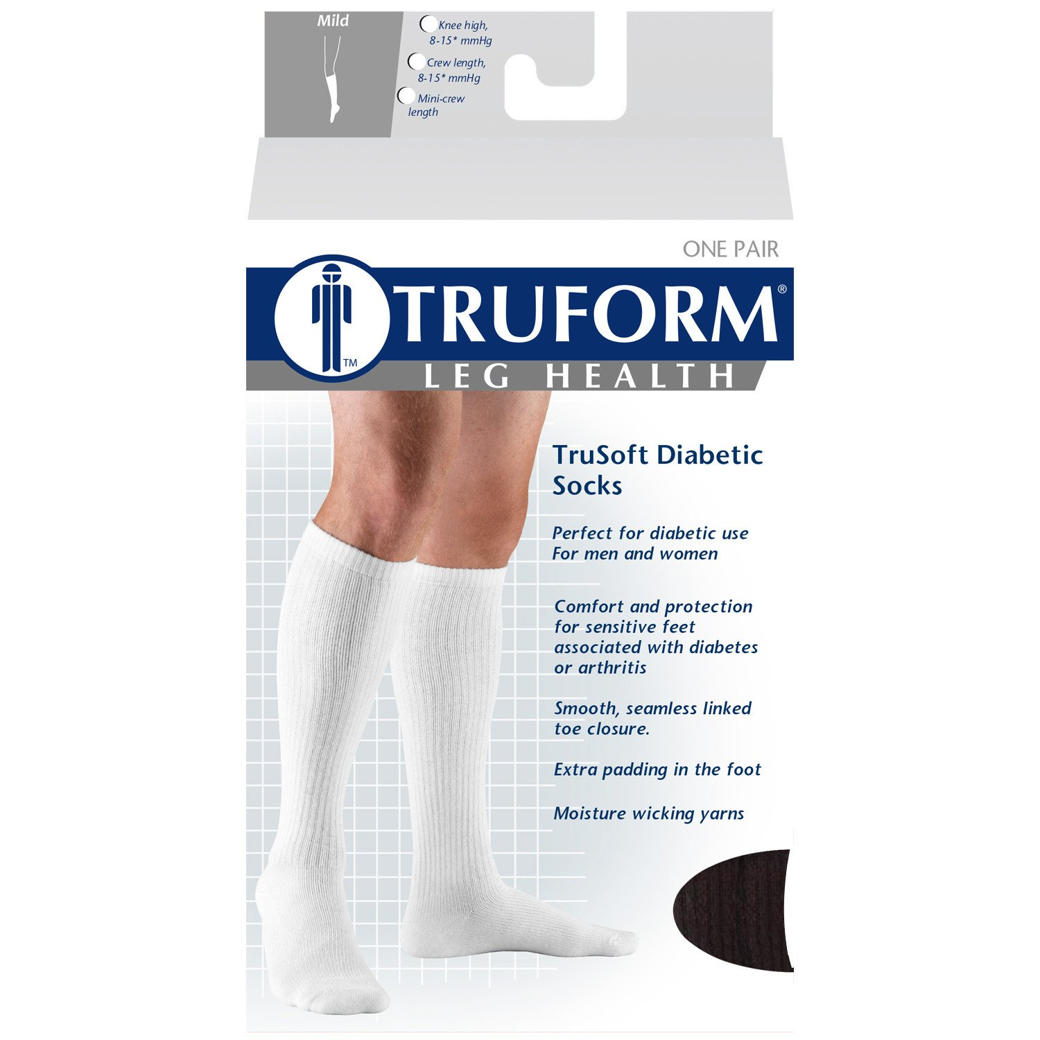 Amazon.com: Truform Cushioned 8-15 mmHg Crew Length Compression Socks for Men and Women, Black, Large: Health & Personal Care