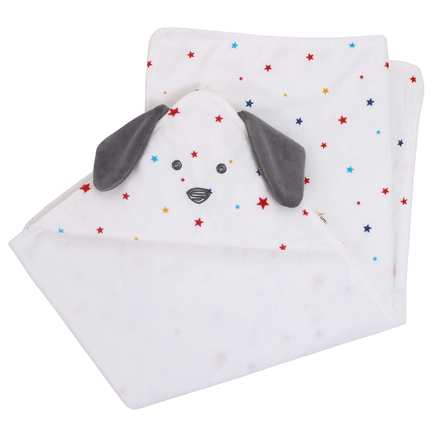 ED Ellen DeGeneres Doodle Dog - Hooded Blanket, Puppy Hood with Multi Star Print, Ivory, Royal, Red, Yellow