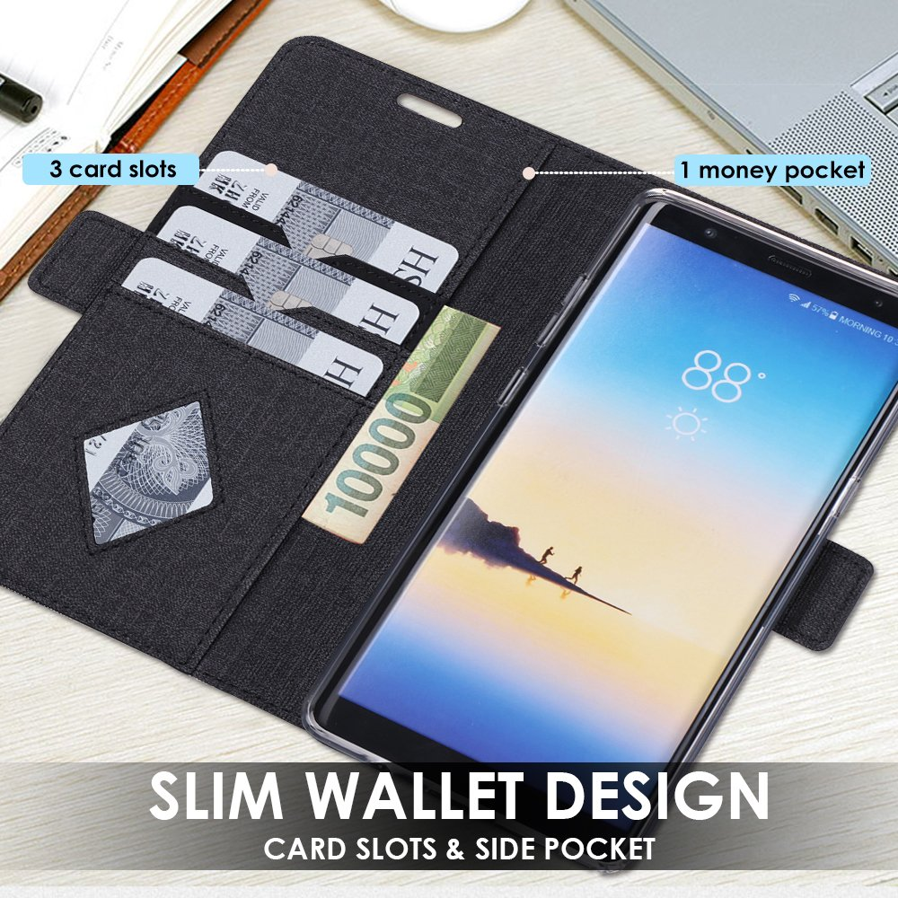 Samsung Galaxy Note 8 Wallet Case, ProCase Folio Folding Wallet Case Flip Cover Protective Case for Galaxy Note 8 2017 Release, With Card Slots and Kickstand -Black by ProCase (Image #2)